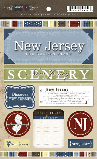 Lovely Travel Collection New Jersey 5.5 x 8 Sticker Sheet by Scrapbook Customs
