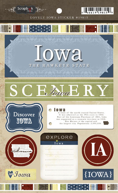 Lovely Travel Collection Iowa 5.5 x 8 Sticker Sheet by Scrapbook Customs