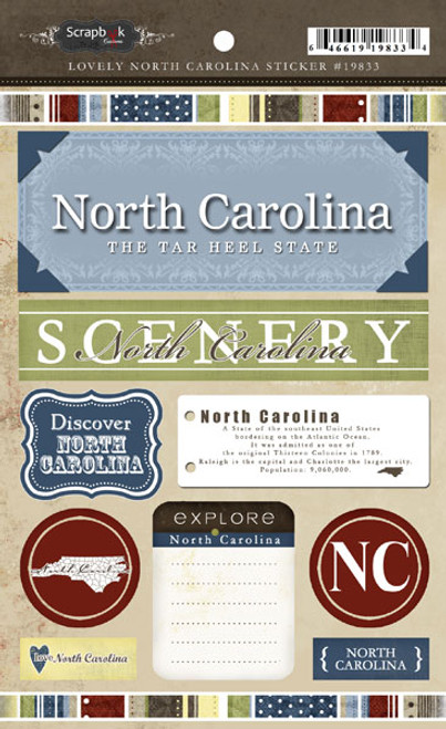 Lovely Travel Collection North Carolina 5.5 x 8 Sticker Sheet by Scrapbook Customs