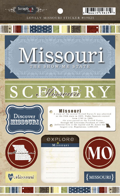 Lovely Travel Collection Missouri 5.5 x 8 Sticker Sheet by Scrapbook Customs