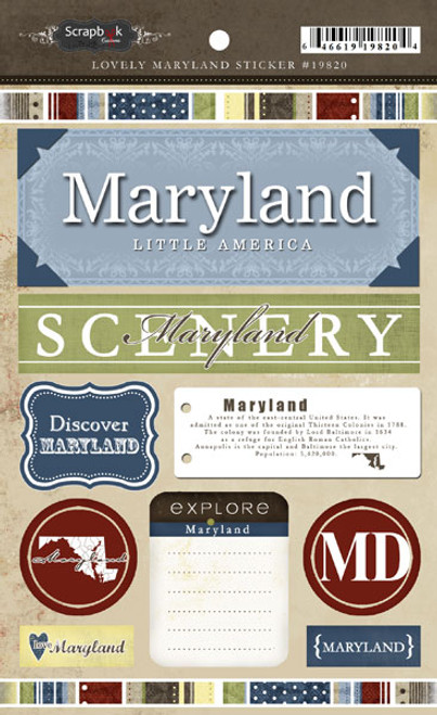 Lovely Travel Collection Maryland 5.5 x 8 Sticker Sheet by Scrapbook Customs