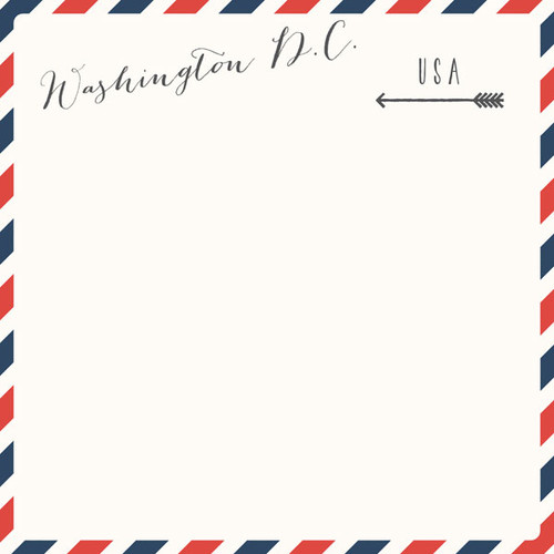 Travel Memories Collection Washington, D.C. Air Mail 12 x 12 Double-Sided Scrapbook Paper by Scrapbook Customs