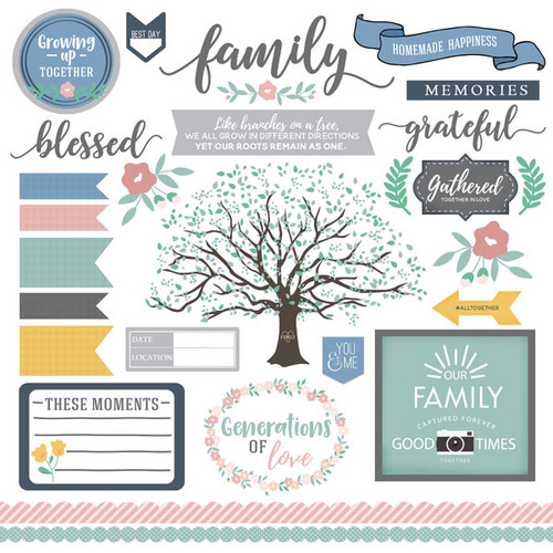 Our Family Collection Family Elements 12 x 12 Scrapbook Sticker Sheet by Scrapbook Customs