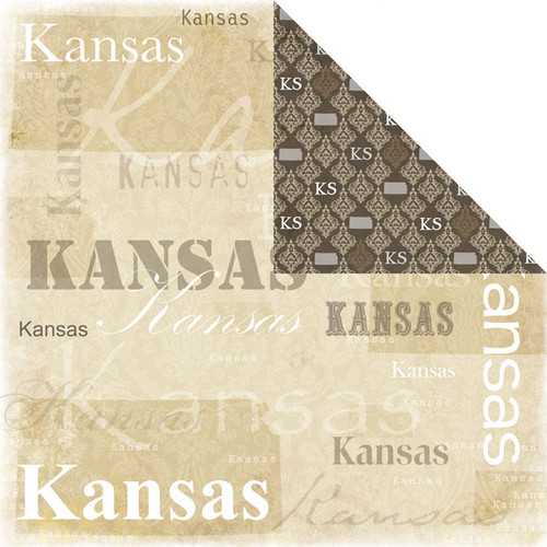 Lovely Travel Collection Kansas 12 x 12 Double-Sided Scrapbook Paper by Scrapbook Customs