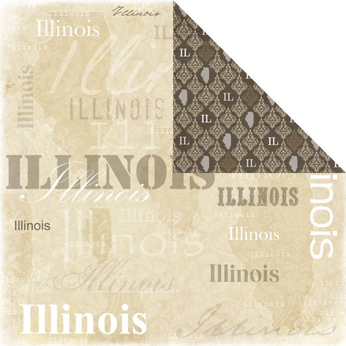 Lovely Travel Collection Illinois 12 x 12 Double-Sided Scrapbook Paper by Scrapbook Customs