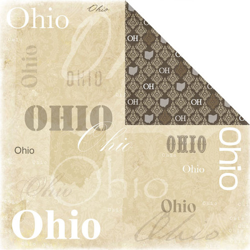 Lovely Travel Collection Ohio 12 x 12 Double-Sided Scrapbook Paper by Scrapbook Customs