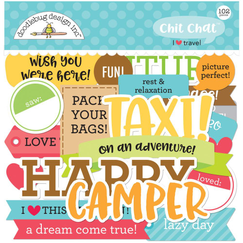 I Heart Travel Collection 6 x 6 Chit Chat Die Cut Scrapbook Embellishments by Doodlebug Design - 102 Pieces