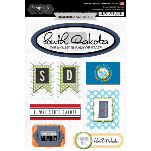 Travel Adventure Collection South Dakota Journal 6 x 8 Scrapbook Embellishment by Scrapbook Customs