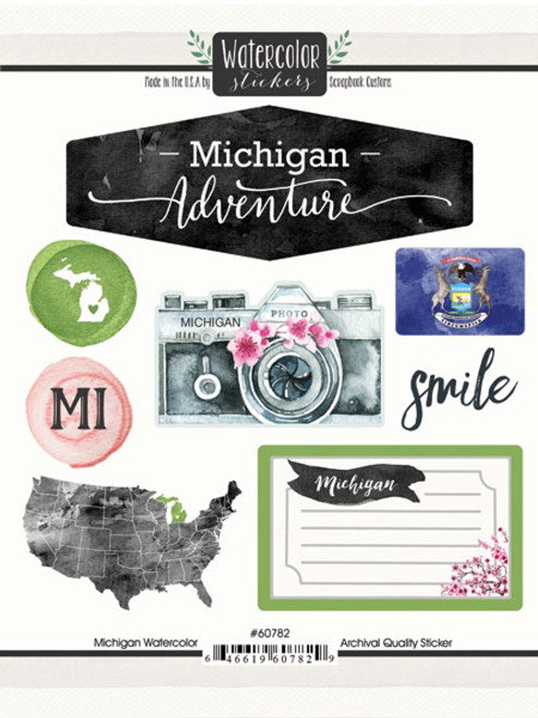 Watercolor Collection Michigan 6 x 8 Scrapbook Sticker Sheet by Scrapbook Customs