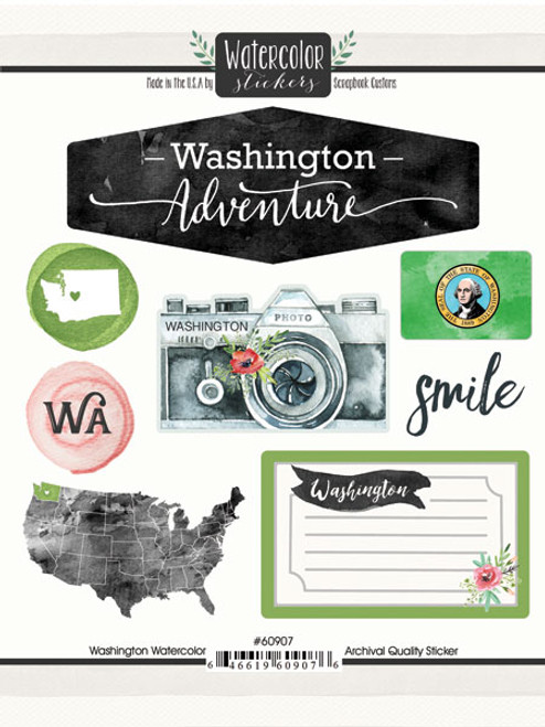 Watercolor Collection Washington 6 x 8 Scrapbook Sticker Sheet by Scrapbook Customs