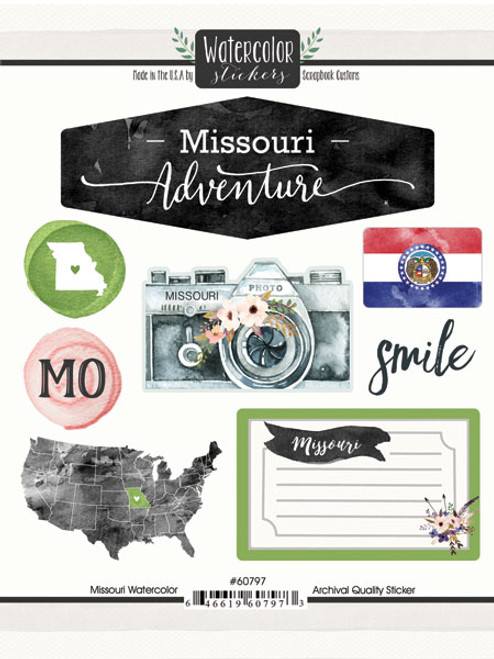 Watercolor Collection Missouri 6 x 8 Scrapbook Sticker Sheet by Scrapbook Customs