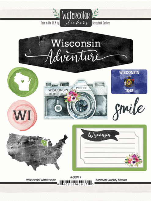 Watercolor Collection Wisconsin 6 x 8 Scrapbook Sticker Sheet by Scrapbook Customs