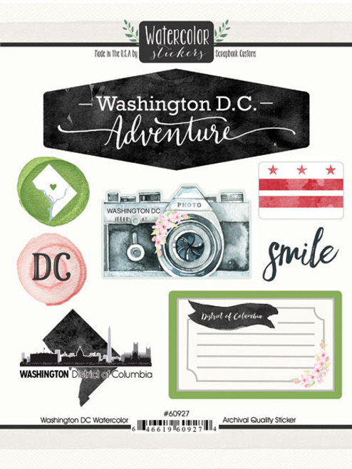 Watercolor Collection Washington, DC 6 x 8 Scrapbook Sticker Sheet by Scrapbook Customs