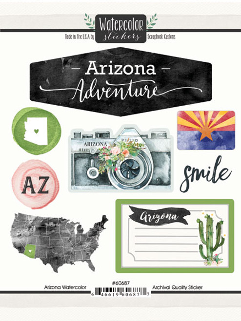 Watercolor Collection Arizona 6 x 8 Scrapbook Sticker Sheet by Scrapbook Customs