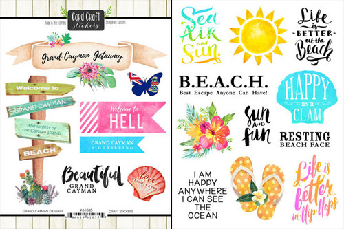 Getaway Collection Grand Cayman 6 x 8 Double-Sided Scrapbook Sticker Sheet by Scrapbook Customs