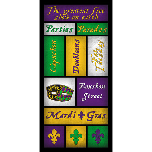 Mardi Gras Collection Mardi Gras 6 x 12 Scrapbook Sticker Sheet by Scrapbook Customs