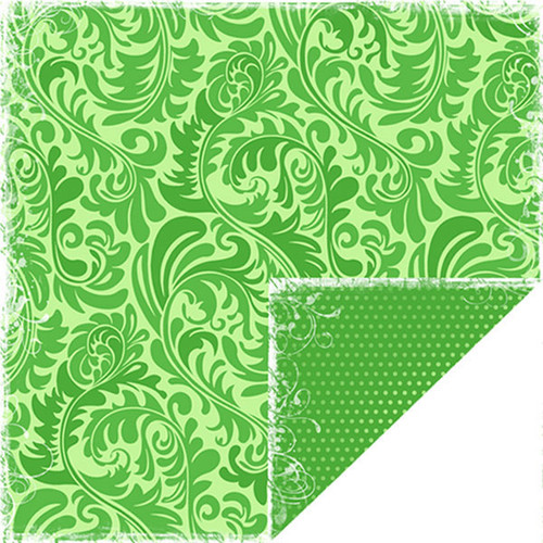 Bon Voyage Collection Green Ferns Double-Sided 12 x 12 Scrapbook Paper by Scrapbook Customs
