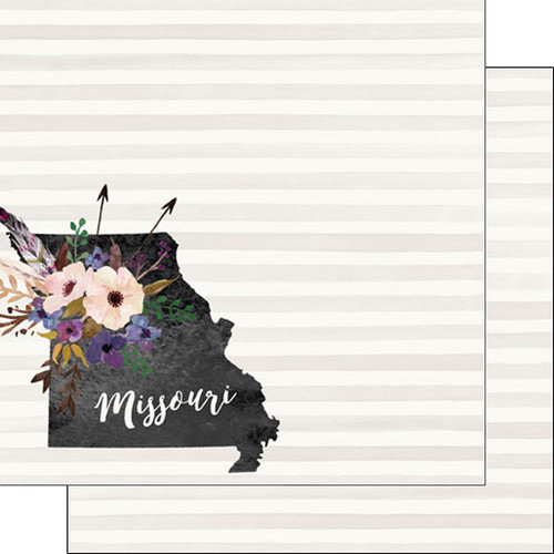 Watercolor Collection Missouri 12 x 12 Double-Sided Scrapbook Paper by Scrapbook Customs