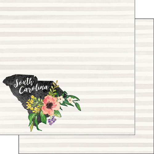 Watercolor Collection South Carolina 12 x 12 Double-Sided Scrapbook Paper by Scrapbook Customs