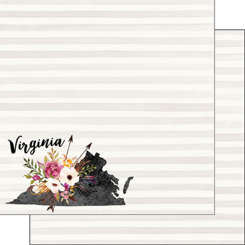 Watercolor Collection Virginia 12 x 12 Double-Sided Scrapbook Paper by Scrapbook Customs