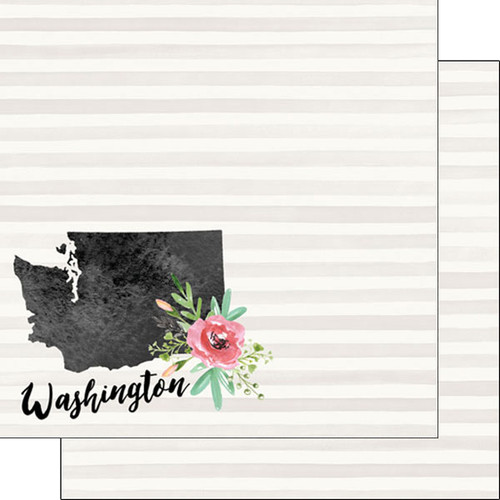 Watercolor Collection Washington 12 x 12 Double-Sided Scrapbook Paper by Scrapbook Customs