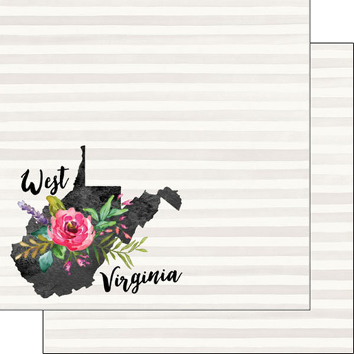 Watercolor Collection West Virginia 12 x 12 Double-Sided Scrapbook Paper by Scrapbook Customs