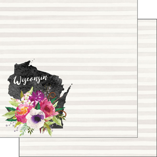Watercolor Collection Wisconsin 12 x 12 Double-Sided Scrapbook Paper by Scrapbook Customs