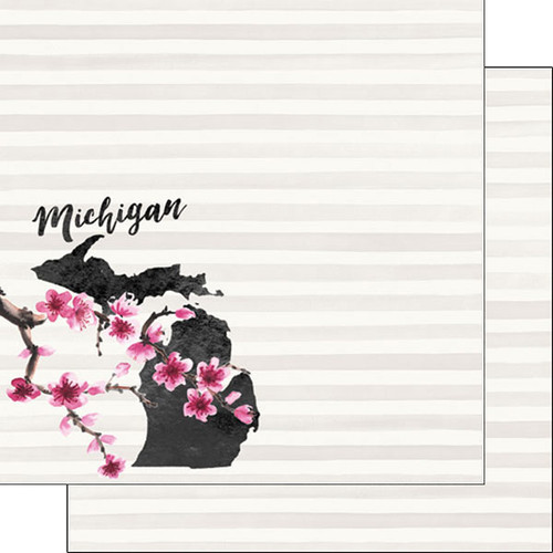 Watercolor Collection Michigan 12 x 12 Double-Sided Scrapbook Paper by Scrapbook Customs