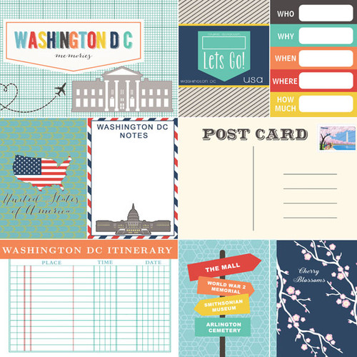 Travel Memories Collection Washington, D.C. Journal 12 x 12 Double-Sided Scrapbook Paper by Scrapbook Customs