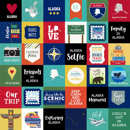 Travel Adventure Collection Alaska Cut Outs 12 x 12 Scrapbook Paper by Scrapbook Customs