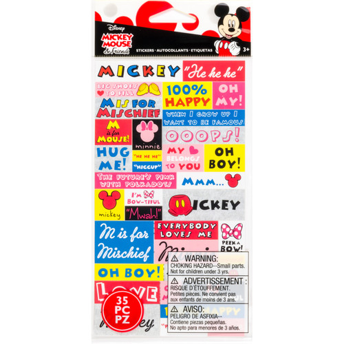 Disney Mickey Mouse & Friends Collection Mickey Minnie Word Stickers 4 x 7 Scrapbook Sticker Sheet by EK Success