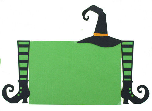 Halloween Green Stripe Witch Legs & Hat 4.25 x 6.25 Laser Cut Photo Mat Frame Scrapbook Embellishment by SSC Laser Designs