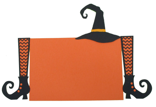 Halloween Orange Chevron Witch Legs & Hat 4.25 x 6.25 Laser Cut Photo Mat Frame Scrapbook Embellishment by SSC Laser Designs