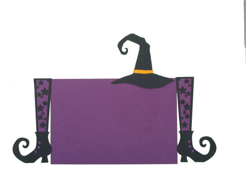 Halloween Purple Stars Witch Legs & Hat 4.25 x 6.25 Laser Cut Photo Mat Frame Scrapbook Embellishment by SSC Laser Designs