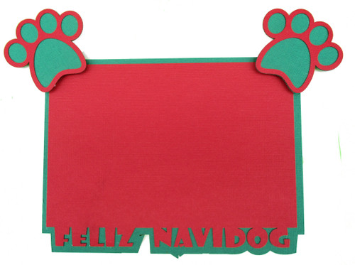 Feliz Navidog 4.25 x 6.25 Laser Cut Photo Mat Frame Scrapbook Embellishment by SSC Laser Designs