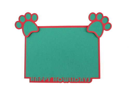 Happy Howlidays 4.25 x 6.25 Laser Cut Photo Mat Frame Scrapbook Embellishment by SSC Laser Designs