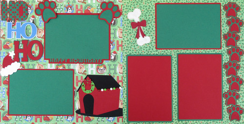 Muttcracker Happy Howlidays 2-12 x 12 Page Fully-Assembled & Hand Embellished 3D Scrapbook Layout by SSC Designs