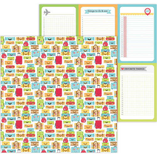 I Heart Travel Collection Vacation Time 12 x 12 Double-Sided Scrapbook Paper by Doodlebug Design
