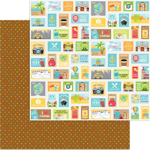 I Heart Travel Collection Scenic Spot 12 x 12 Double-Sided Scrapbook Paper by Doodlebug Design