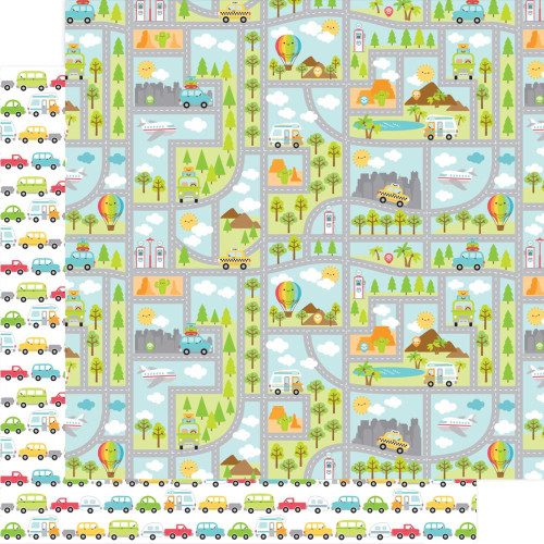 I Heart Travel Collection Going Places 12 x 12 Double-Sided Scrapbook Paper by Doodlebug Design