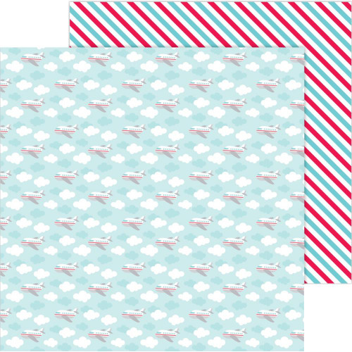 I Heart Travel Collection Fly Away 12 x 12 Double-Sided Scrapbook Paper by Doodlebug Design