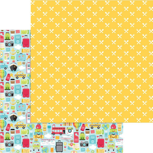 I Heart Travel Collection I Heart Travel 12 x 12 Double-Sided Scrapbook Paper by Doodlebug Design