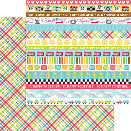 I Heart Travel Collection Plaid To Be Here 12 x 12 Double-Sided Scrapbook Paper by Doodlebug Design