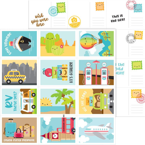 I Heart Travel Collection Wish You Were Here 12 x 12 Double-Sided Scrapbook Paper by Doodlebug Design