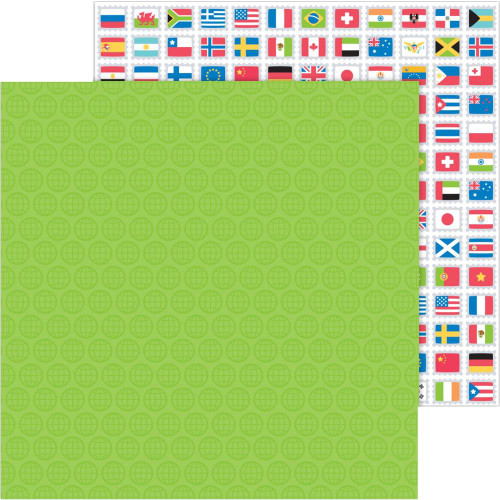 I Heart Travel Collection World Traveler 12 x 12 Double-Sided Scrapbook Paper by Doodlebug Design