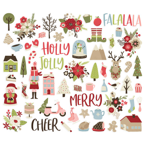 Holly Jolly Collection Bits & Pieces Scrapbook Die Cuts by Simple Stories - 61 Pieces