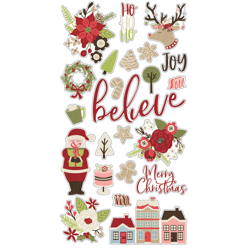 Holly Jolly Collection 6 x 12 Chipboard Sticker Scrapbook Embellishments by Simple Stories - 23 Pieces