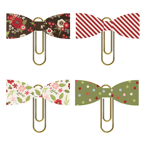 Holly Jolly Collection Paper Bow Clips Scrapbook Embellishments by Simple Stories - 4 Clips