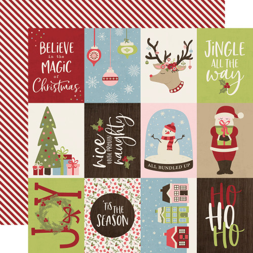 Holly Jolly Collection 3 x 4 Elements 12 x 12 Double-Sided Scrapbook Paper by Simple Stories