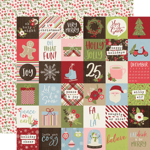 Holly Jolly Collection 2 x 2 Elements 12 x 12 Double-Sided Scrapbook Paper by Simple Stories